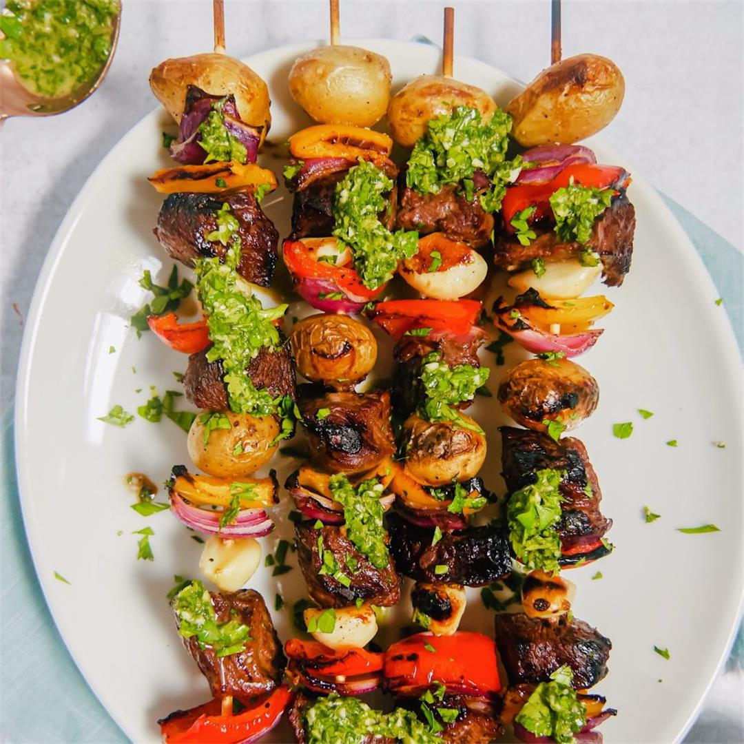 Marinated Steak Skewers with Chimichurri