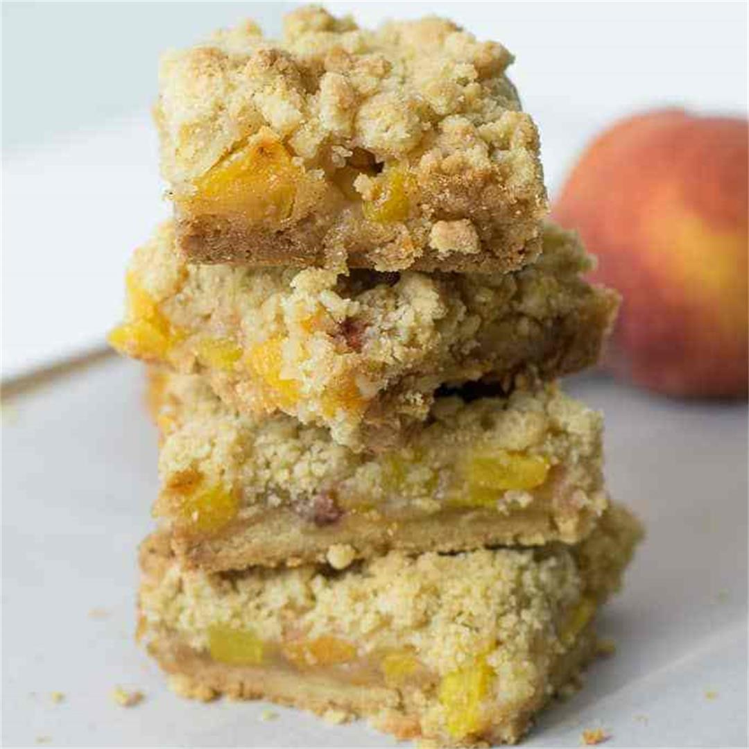 Brown Butter Peach Crumb Bars — JMK Bakes
