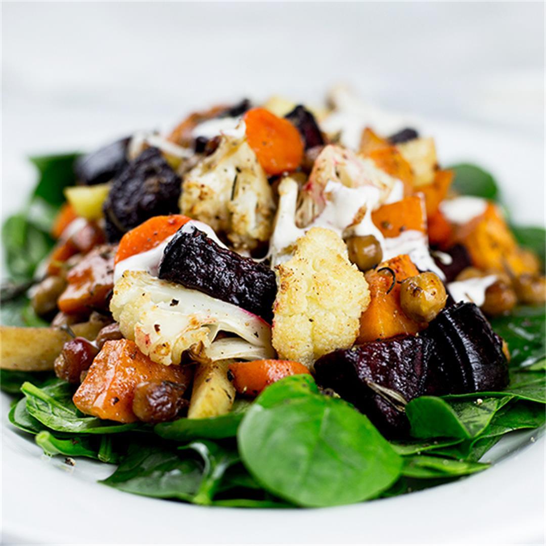 Roasted Vegetable Salad with Lemon Tahini Dressing