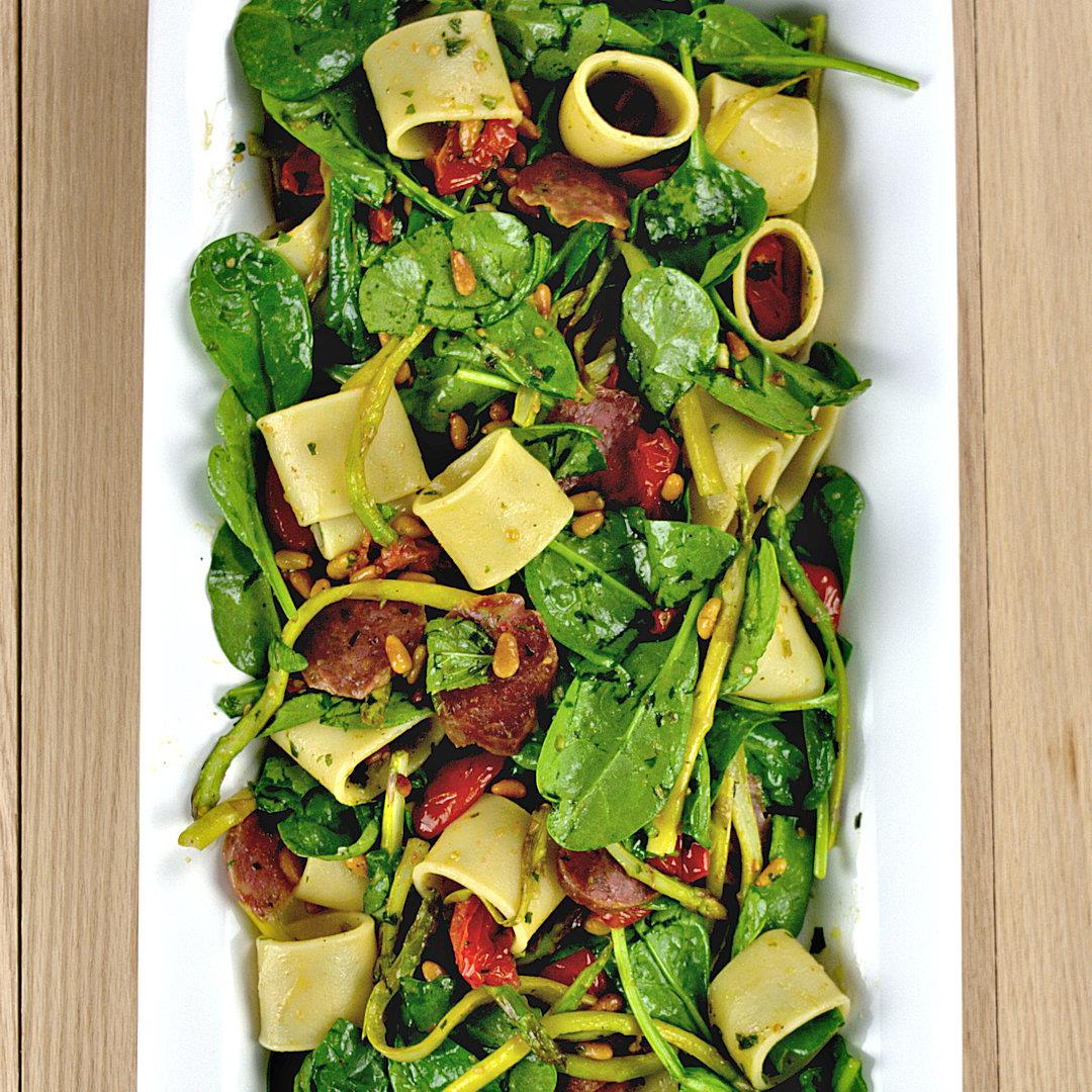 Pasta Salad with Asparagus Spinach and Salami – A Gourmet Food