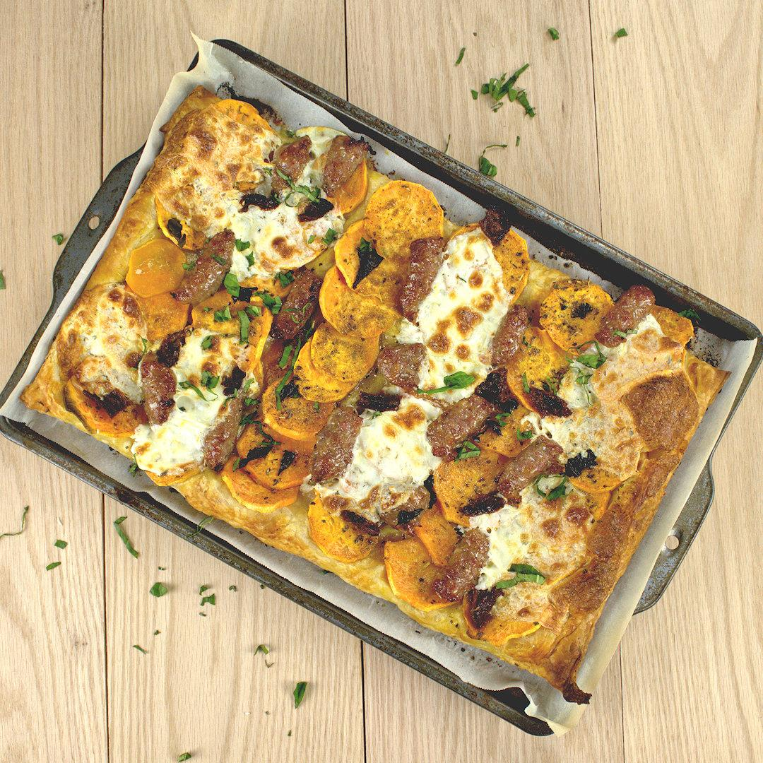 Sweet Potato Slab Pie with Sausage & Mozzarella – A Gourmet Foo