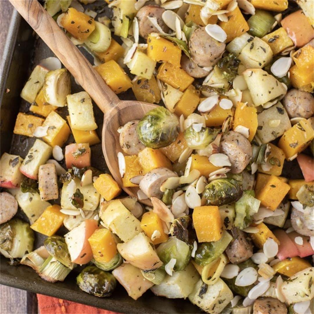 Autumn Sheet Pan Sausage and Veggies