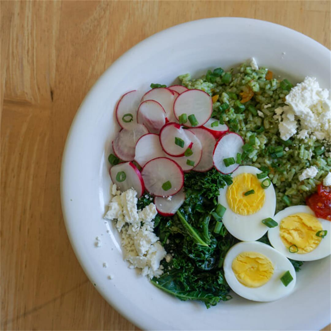 Citrus Kale Pesto Rice Bowl
