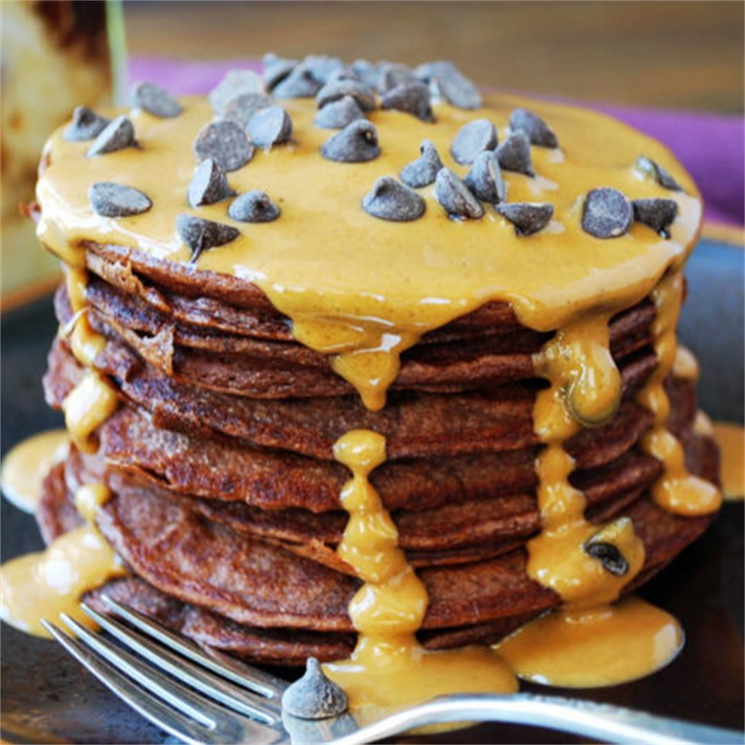 Chocolate Protein Pancakes with Peanut Butter Drizzle