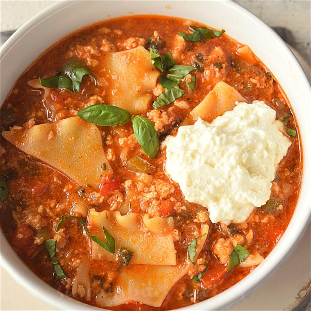 The Best One Pot Lasagna Soup {Of All Time}