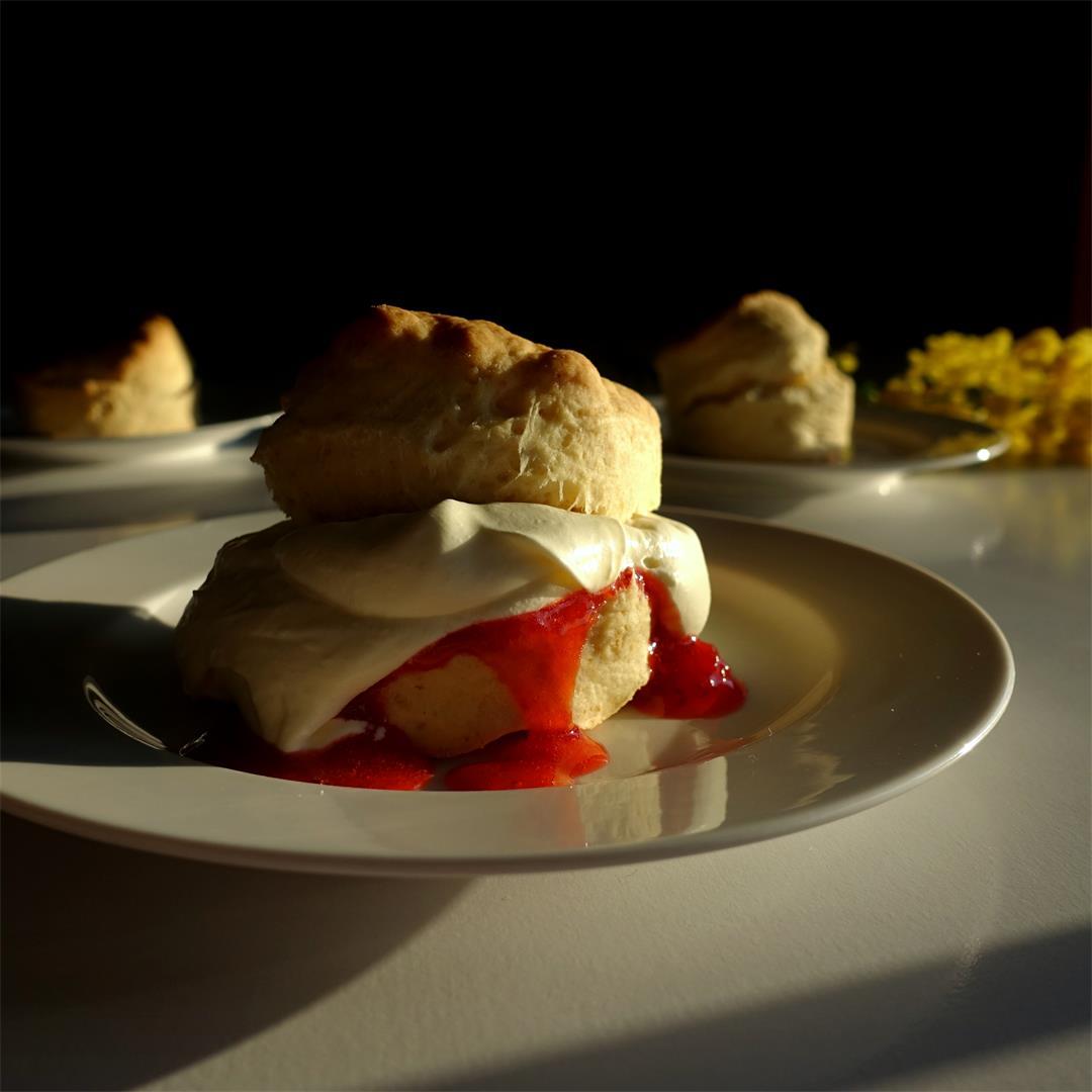 Lemonade Scones with Strawberry Jam and Cream