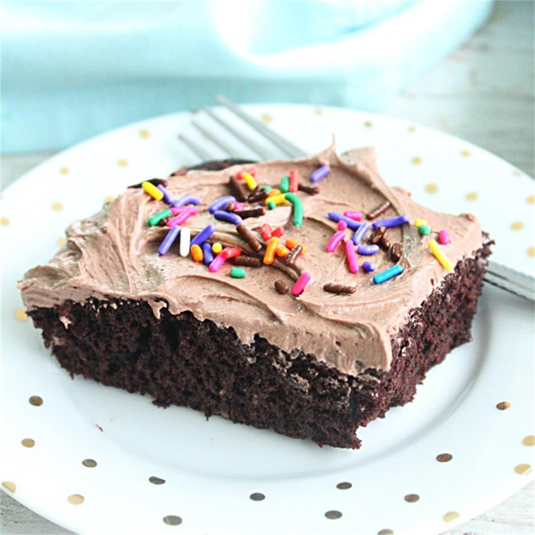 One Bowl Chocolate Sheet Cake with Sweetened Condensed Milk Fro