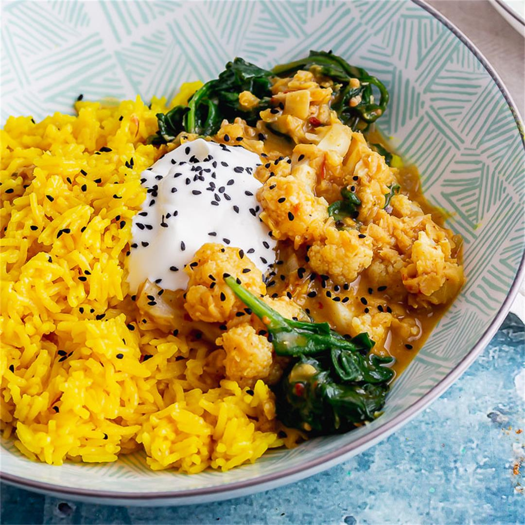 Cauliflower Lentil Curry with Spinach