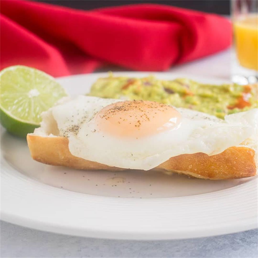 Basted Eggs with Guacamole on Toast