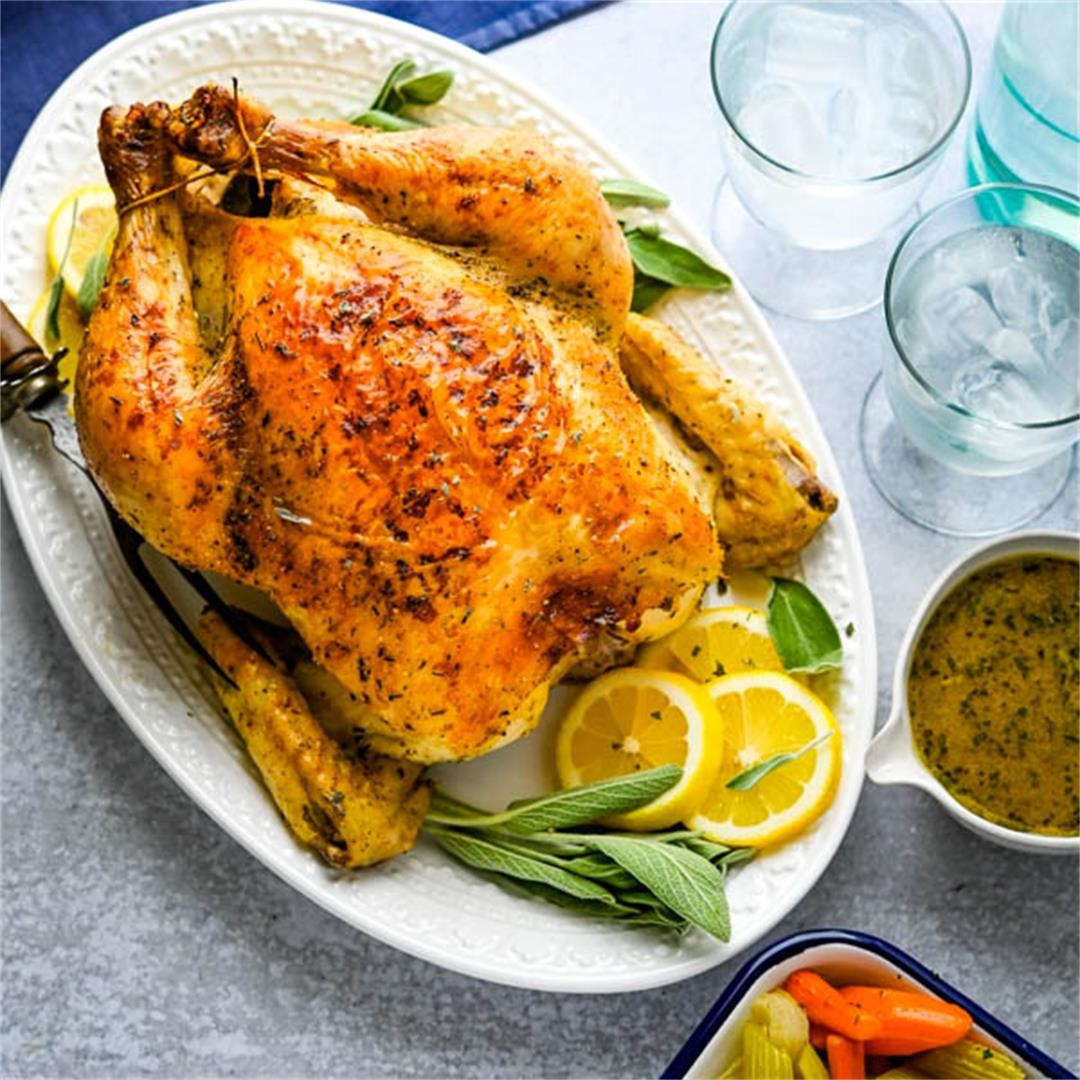 Simple Herb Roasted Chicken with Pan Gravy