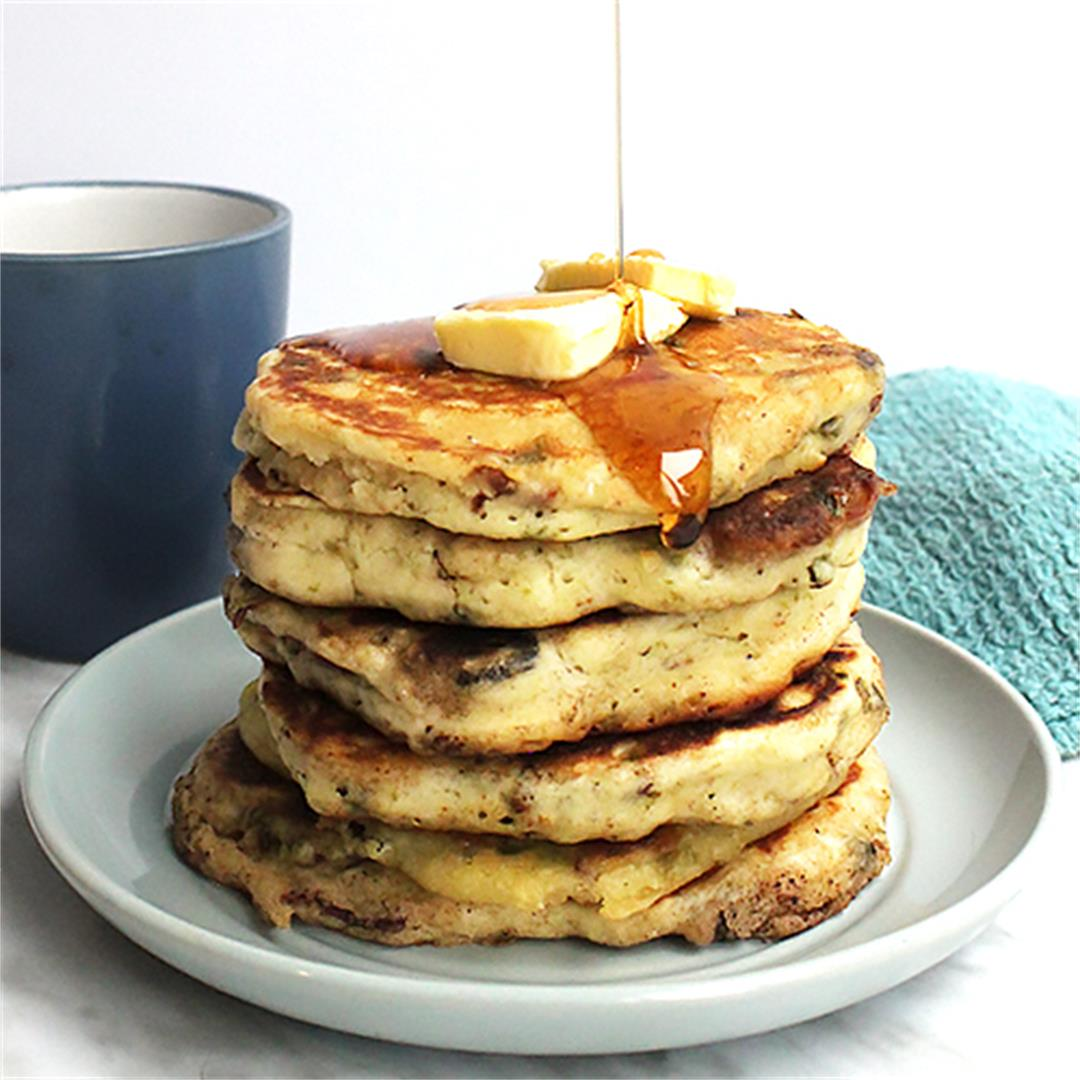 Savory Pancakes with Bacon, Jalapeno and Maple Syrup