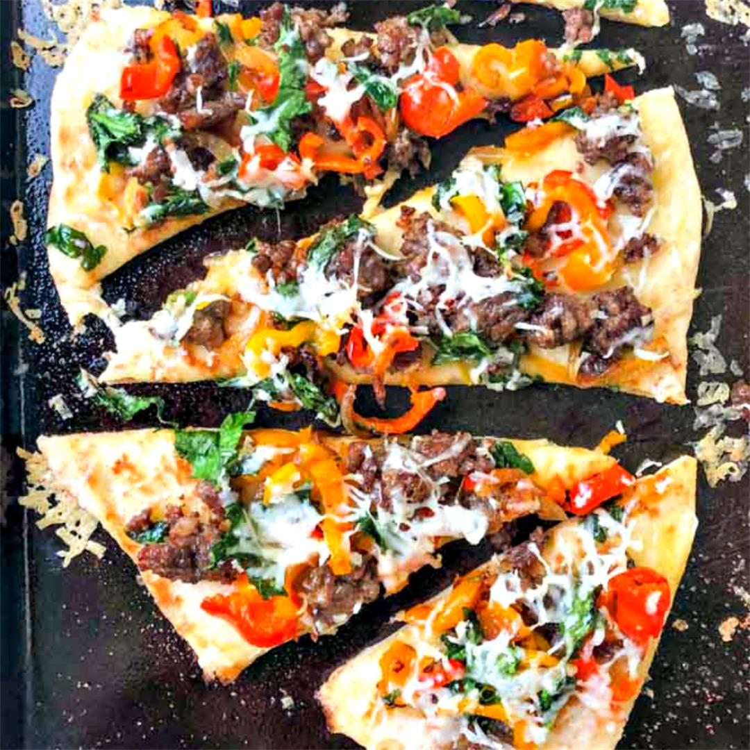 Easy Flatbread Recipe with Asiago Sausage & Peppers in 20 min