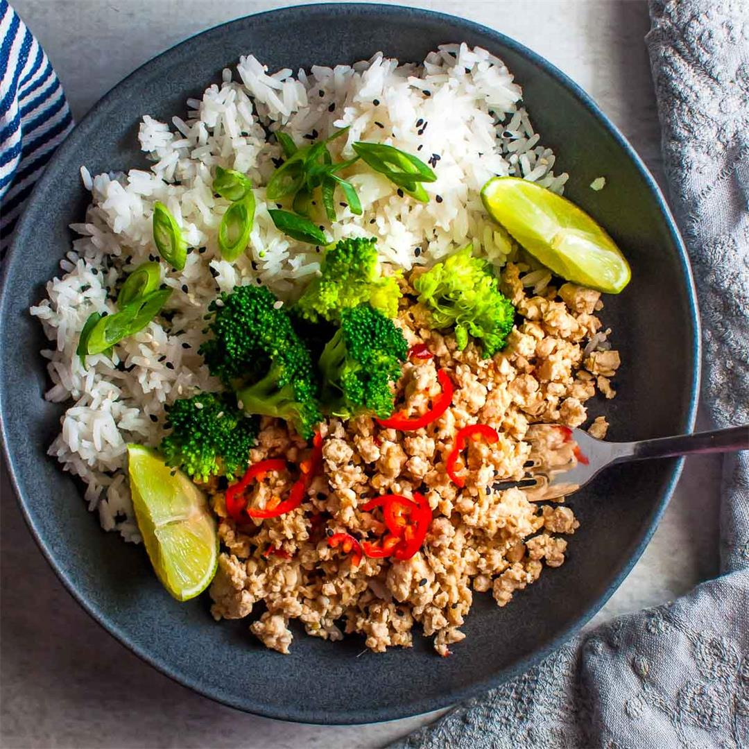 Healthy Thai Garlic Chicken with Low Carb Option!