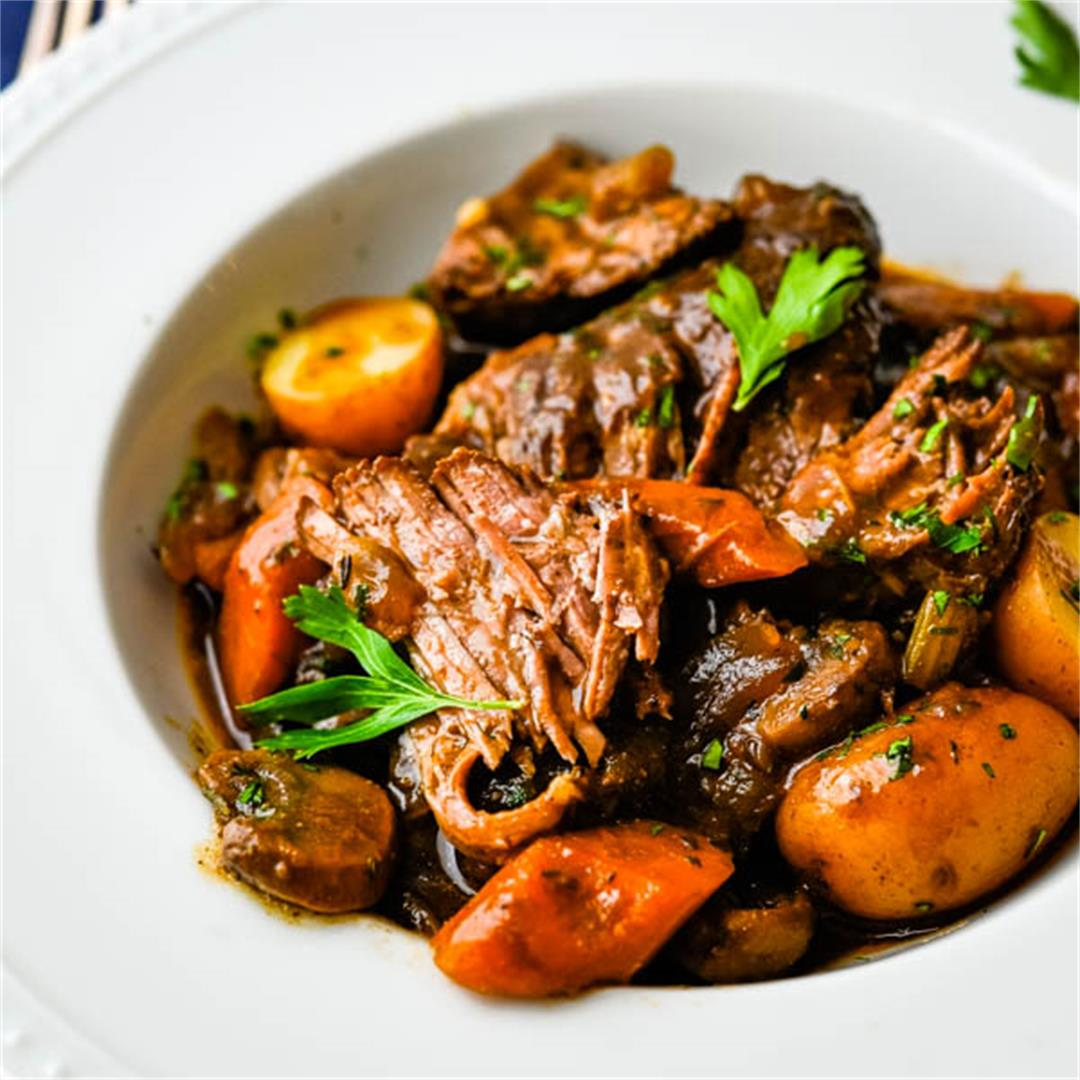 Easy Dutch Oven Pot Roast with Rich Wine-Porcini Sauce