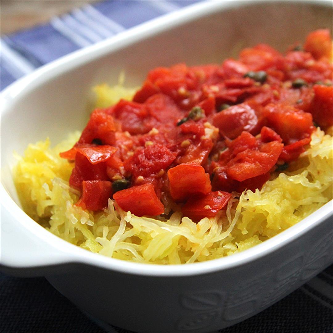 Tomato Garlic Spaghetti Squash