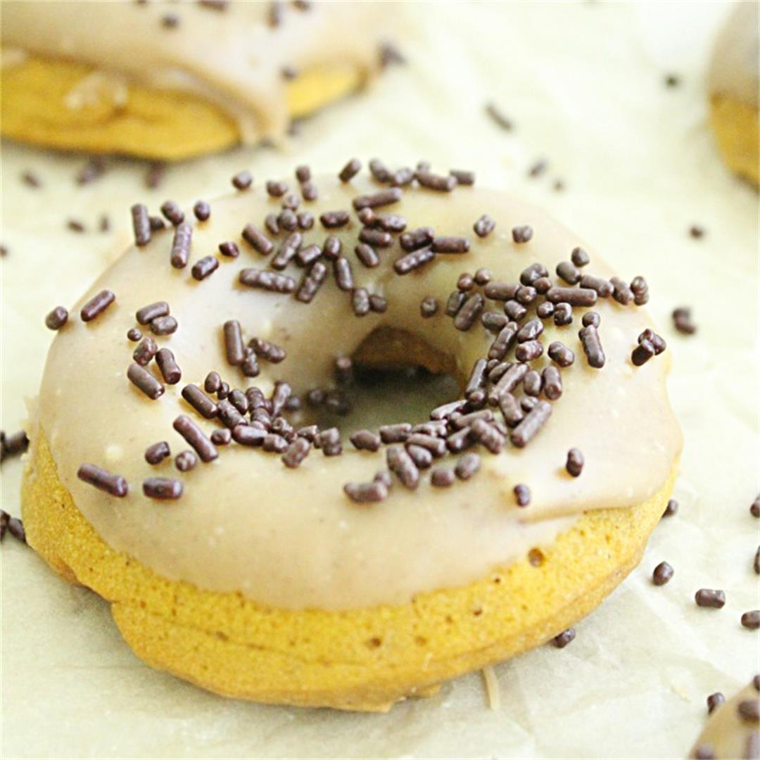 Baked Pumpkin Doughnuts with Maple Glaze