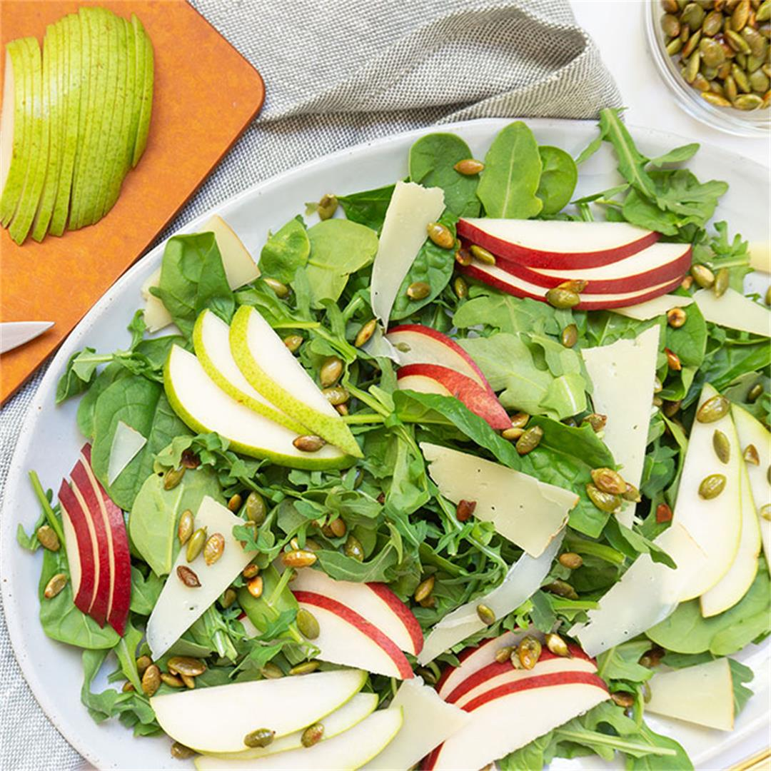 Autumn Salad with Pears, Manchego + Roasted Pepitas