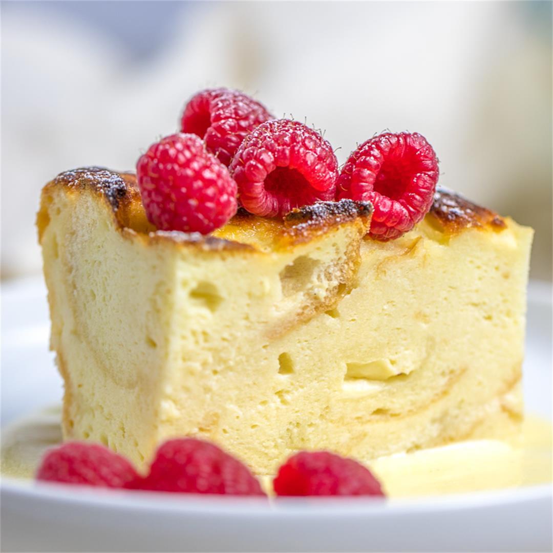 Custard Bread Pudding with Vanilla Sauce