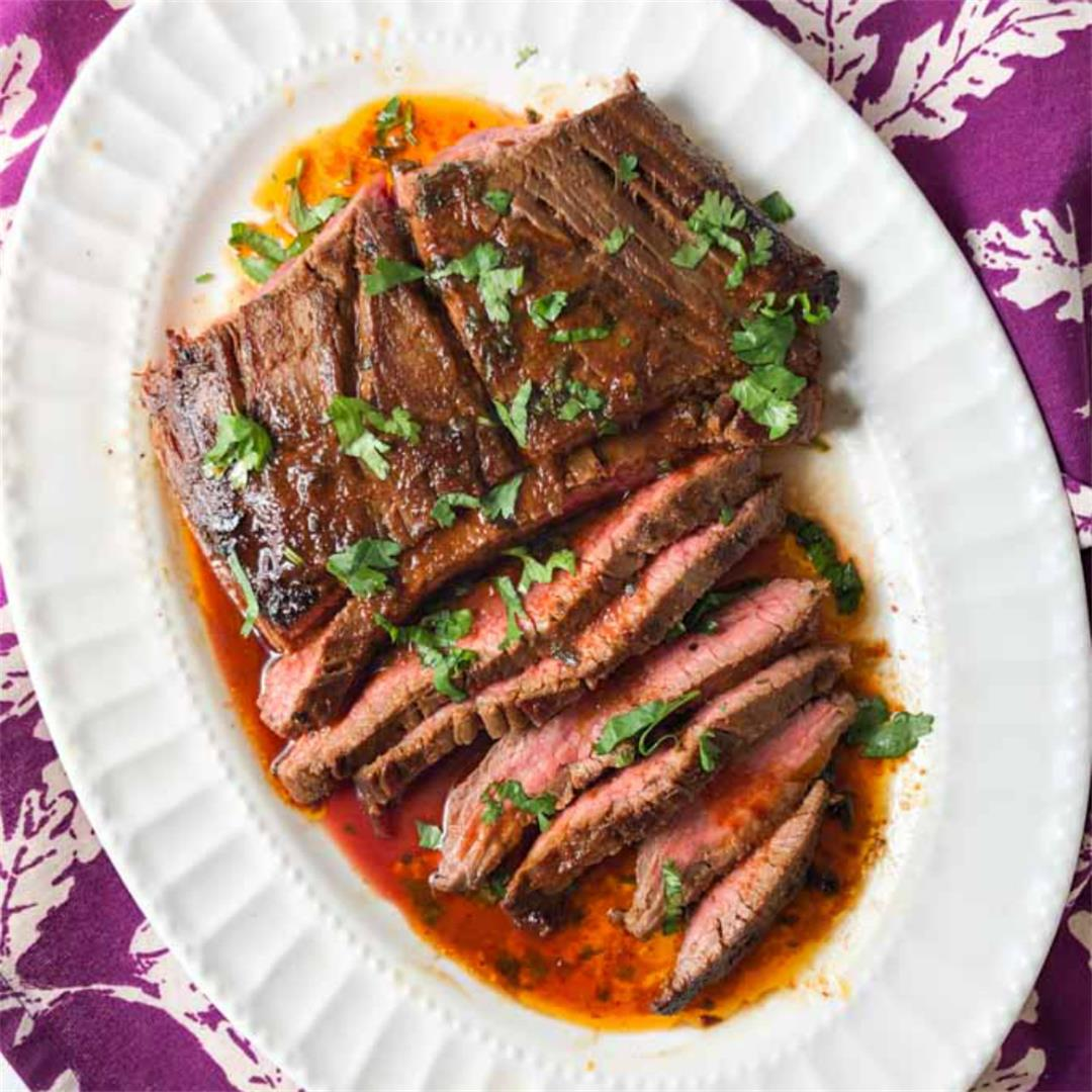 Thai Marinated Flank Steak with Low Carb Peanut Dipping Sauce