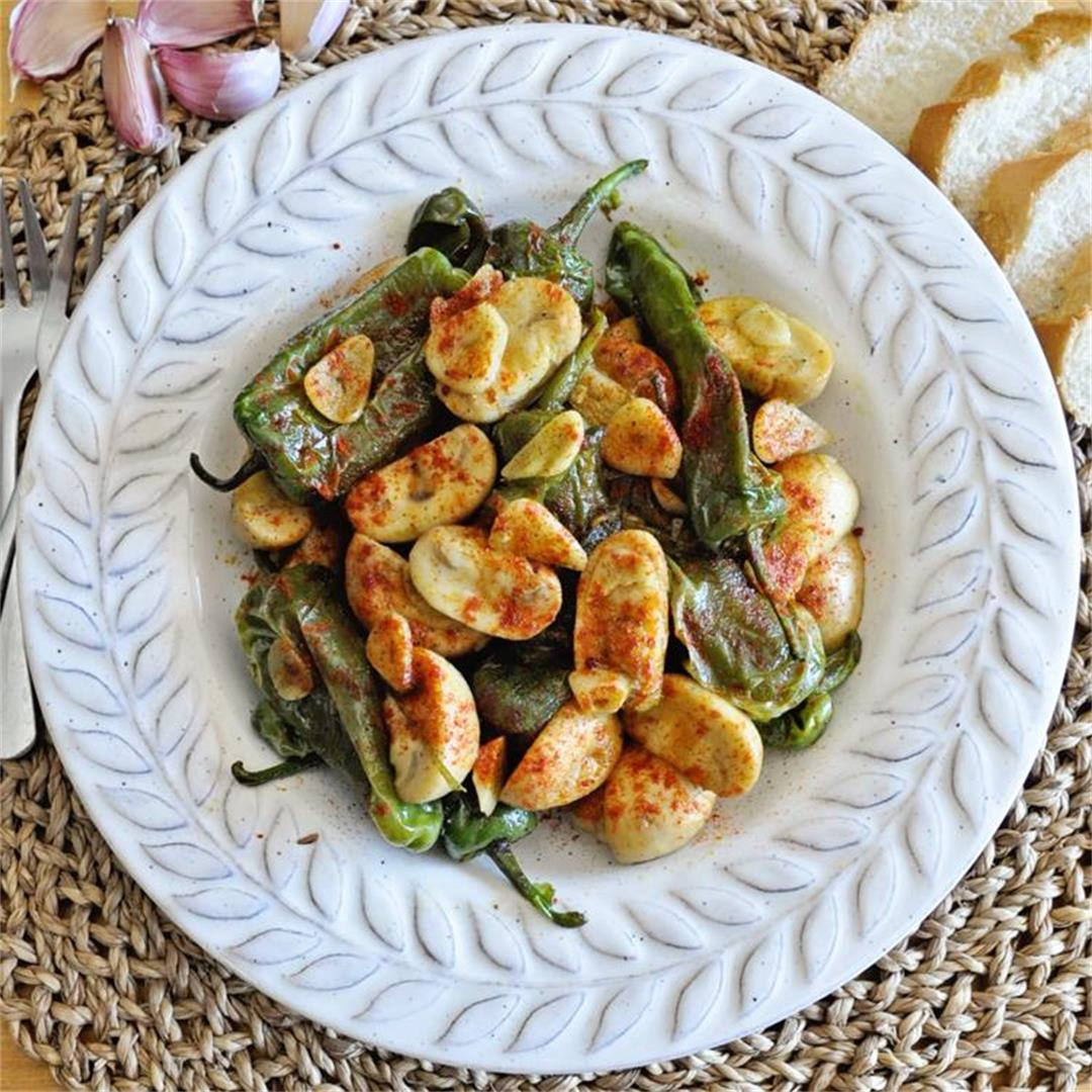 Garlic Mushrooms with Spanish Padron Peppers