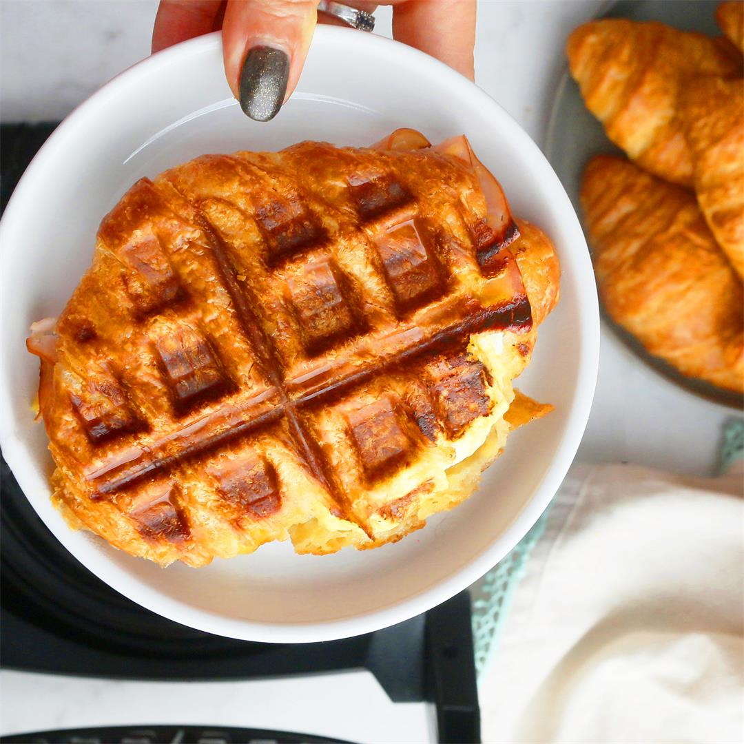 How to make Breakfast Croissant Sandwiches in a Waffle Iron?
