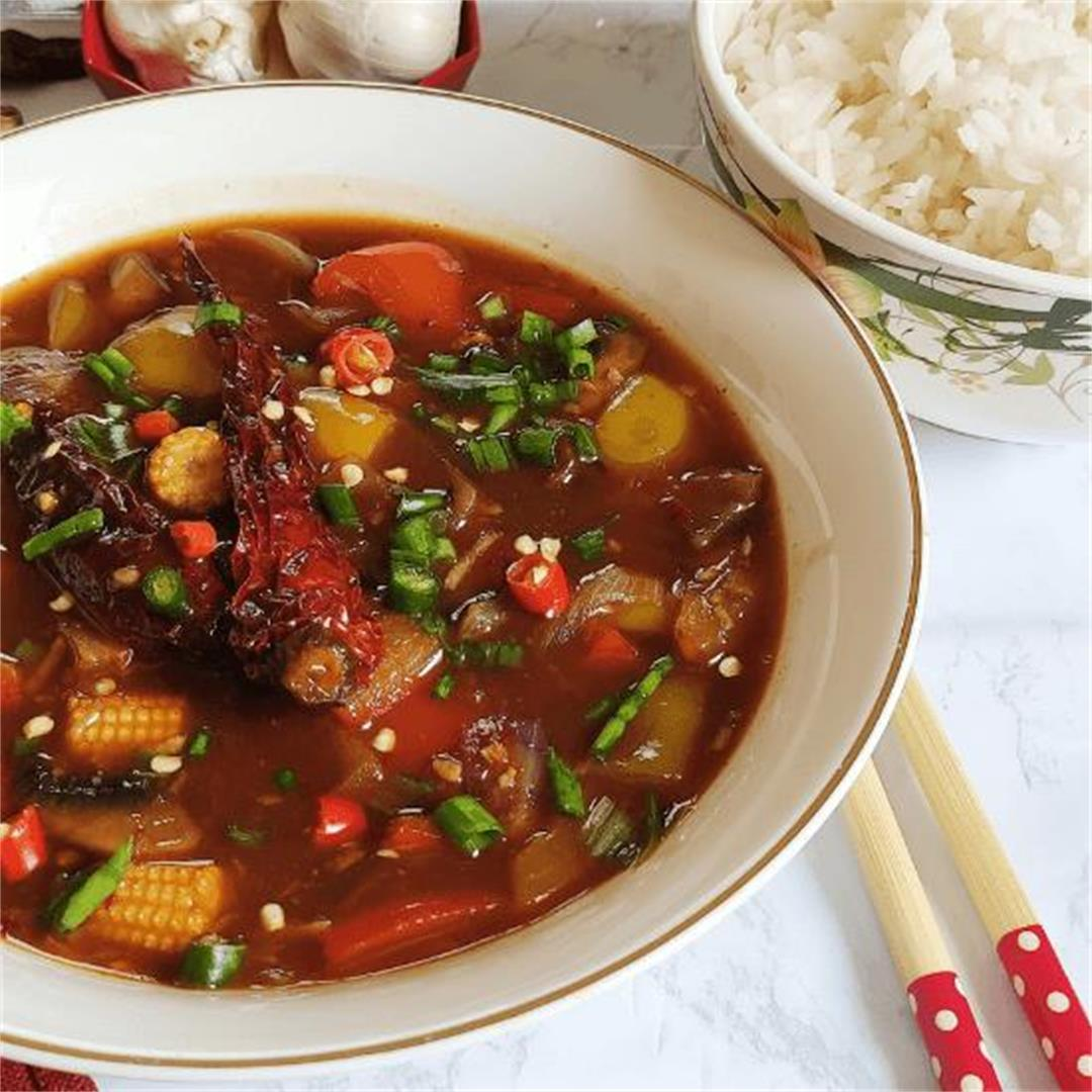 Chinese style vegetables in hot garlic sauce