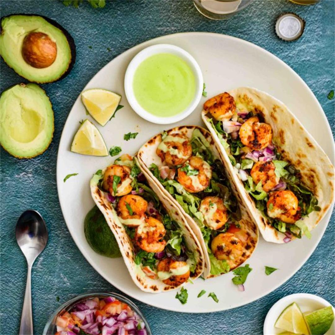 Shrimp Tacos with Avocado Yogurt Sauce