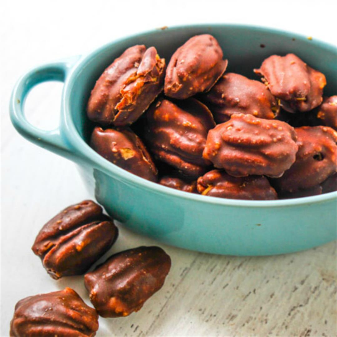Low Carb Chocolate Covered Pecans with Peanut Butter Filling