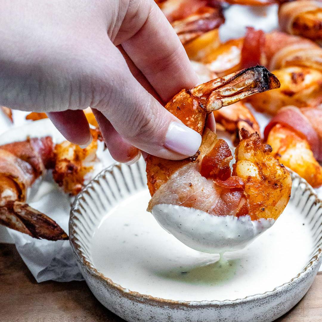 Keto Bacon Wrapped Shrimp