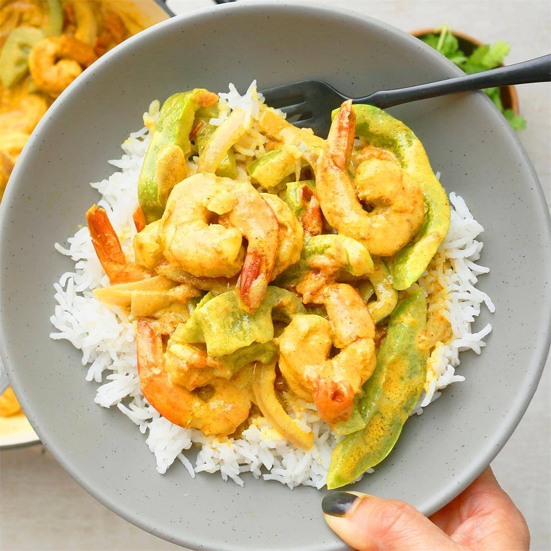 Coconut Curry Shrimp ( One skillet, 20 minutes)