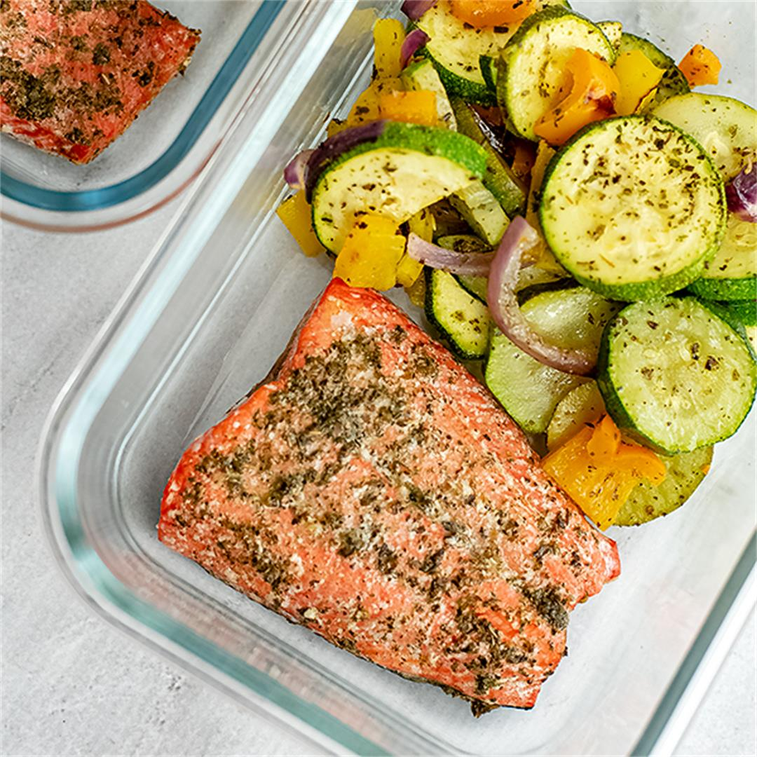Greek Salmon and Vegetables Sheet Pan Meal