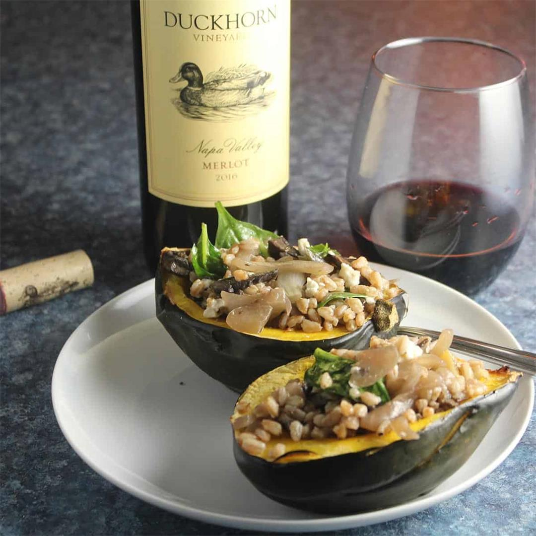 Vegetarian Stuffed Acorn Squash with a Napa Merlot #winePW #Mer