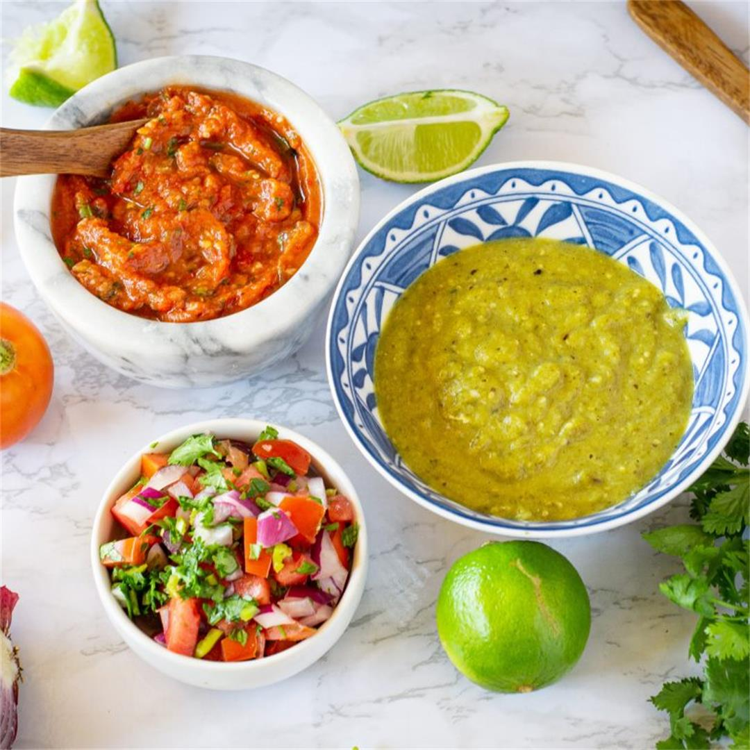 Salsa, Three Ways (salsa verde, fire-roasted, & pico de gallo)