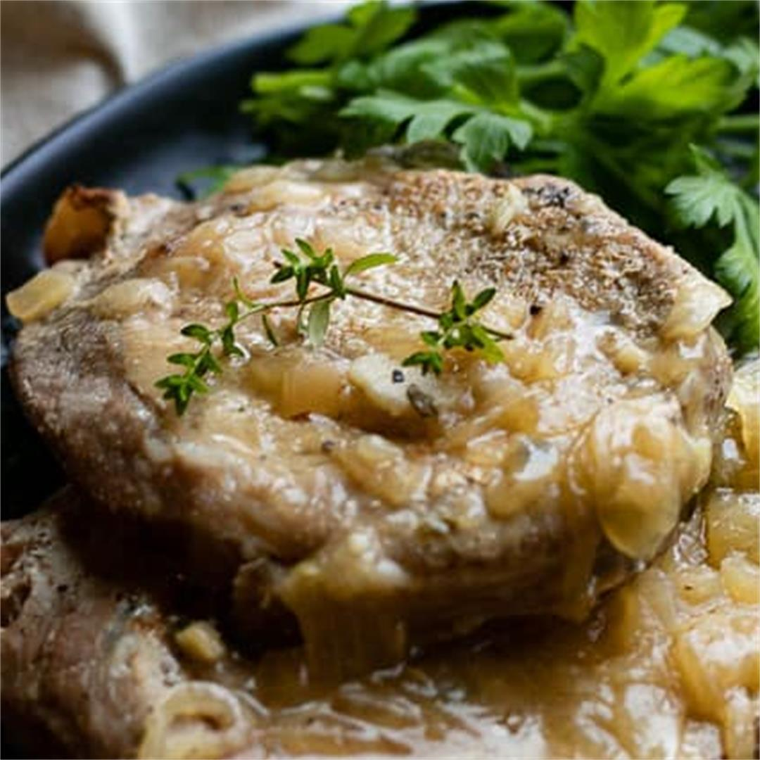 Healthy Instant Pot Pork Chops with Onion Gravy