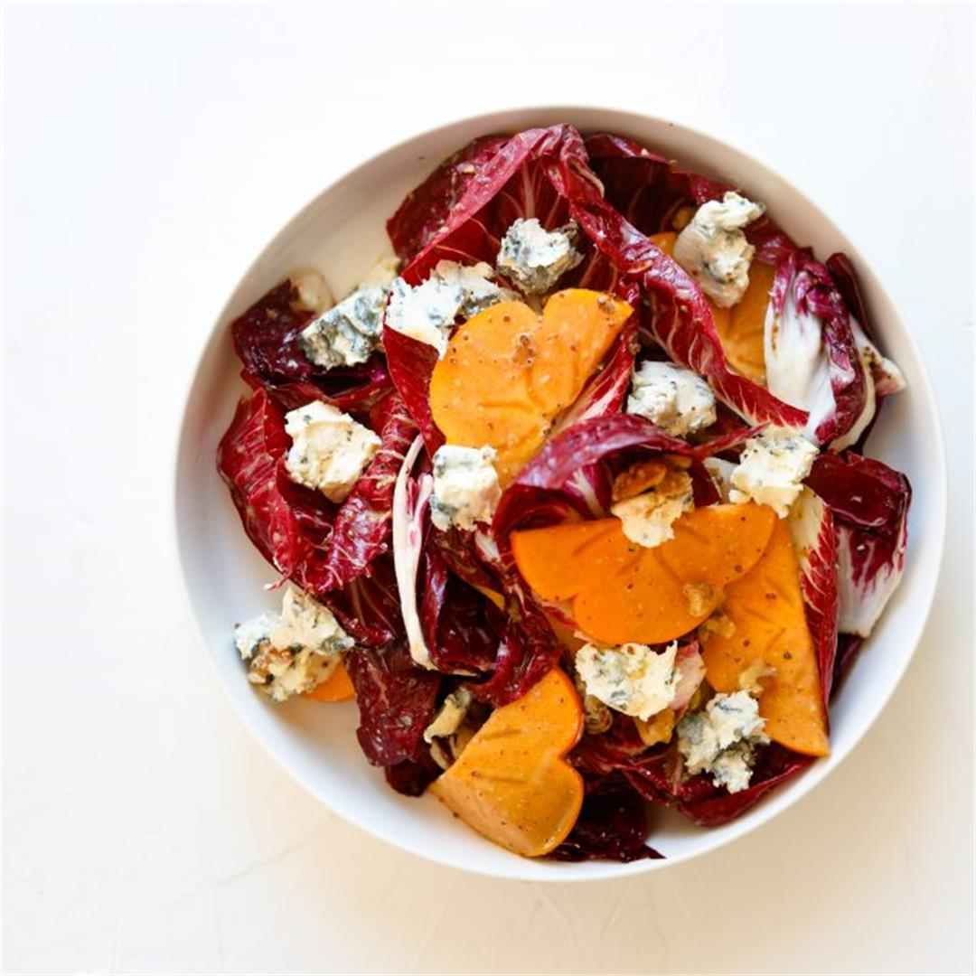 Persimmon and Blue Cheese Salad with Grainy Mustard Vinaigrette