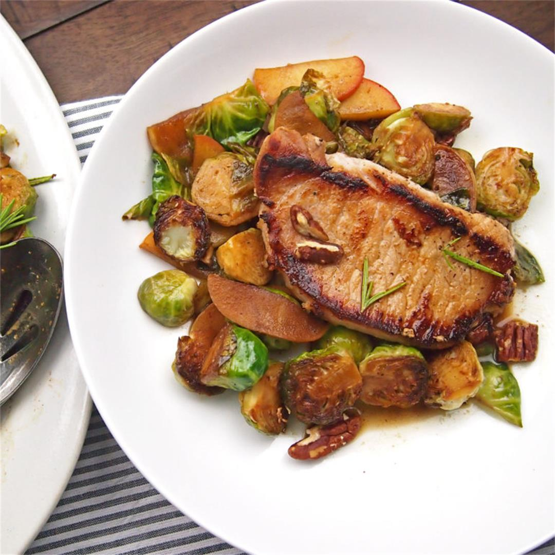 Cider Braised Pork with Apples and Brussels Sprouts