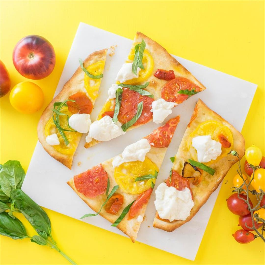 Flatbread with Tomatoes, Peppers and Burrata