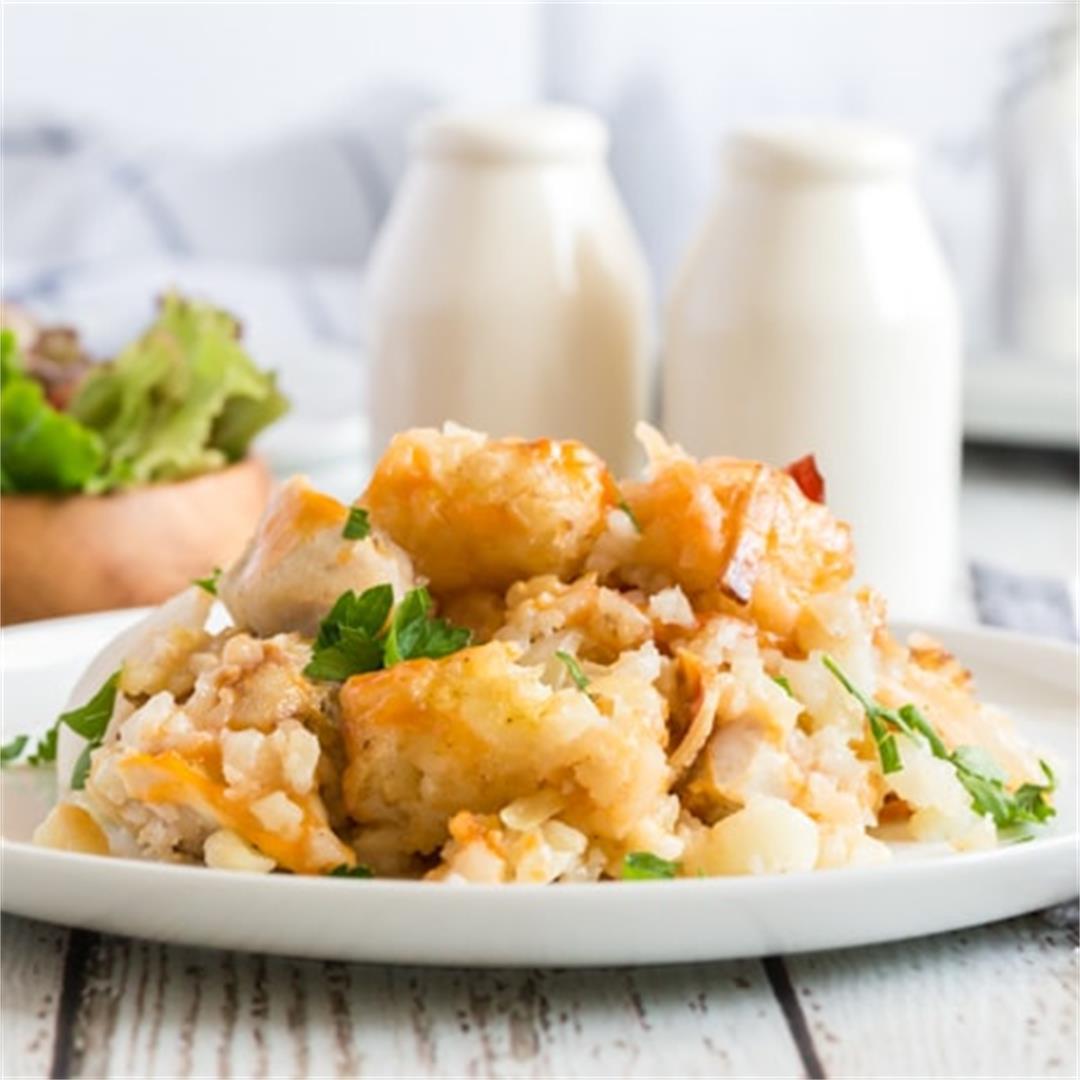 Cheesy Chicken Tater Tot Casserole Recipe (Crockpot)