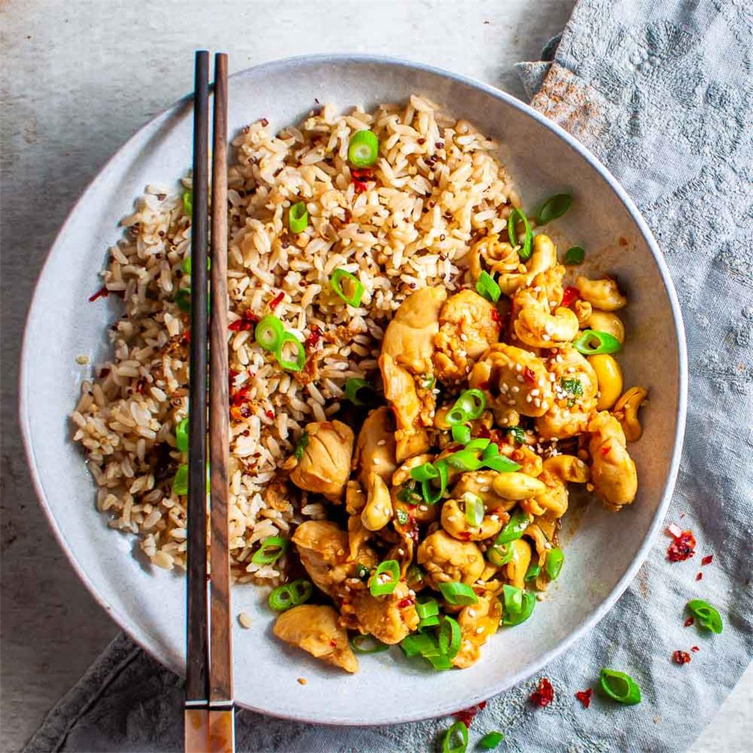 Honey Chilli Chicken with Cashews (low carb options included)