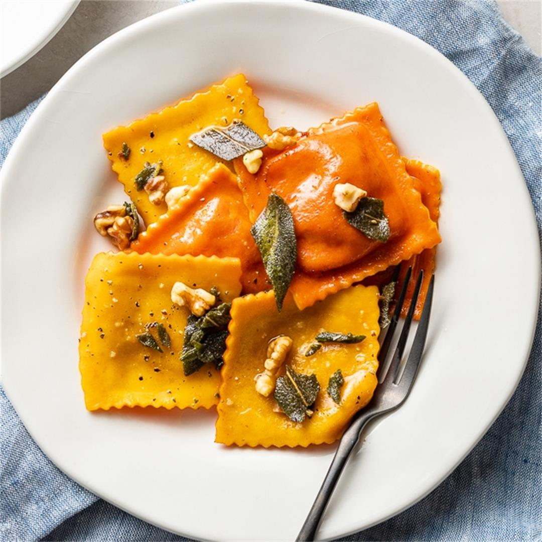 Pumpkin Ravioli with Crisped Sage, Brown Butter, and Toasted Wa