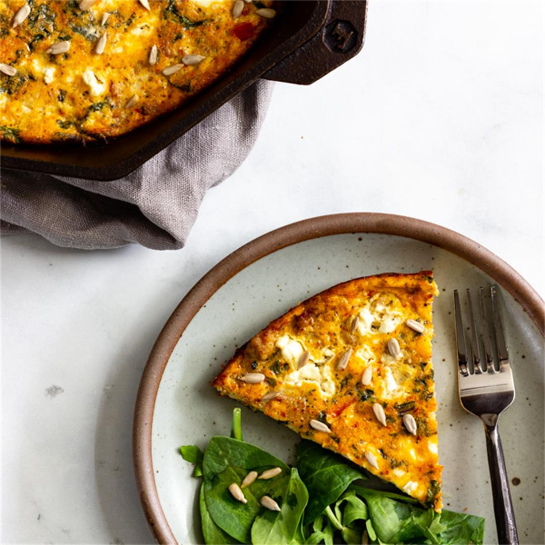 Baked Frittata with Sausage, Kale, and Sun-Dried Tomato Pesto