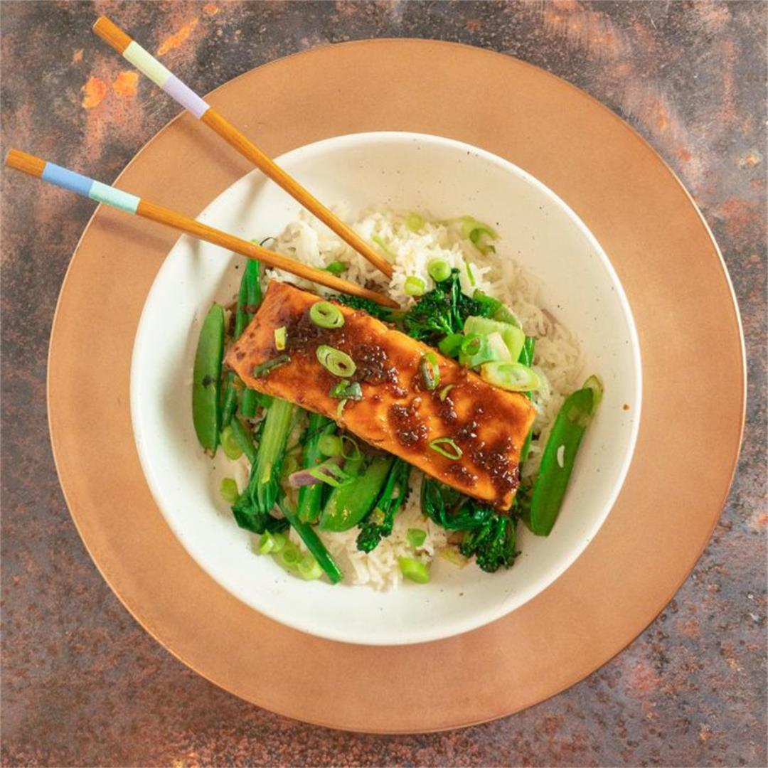 Chilli Soy Salmon with Stir Fry Greens