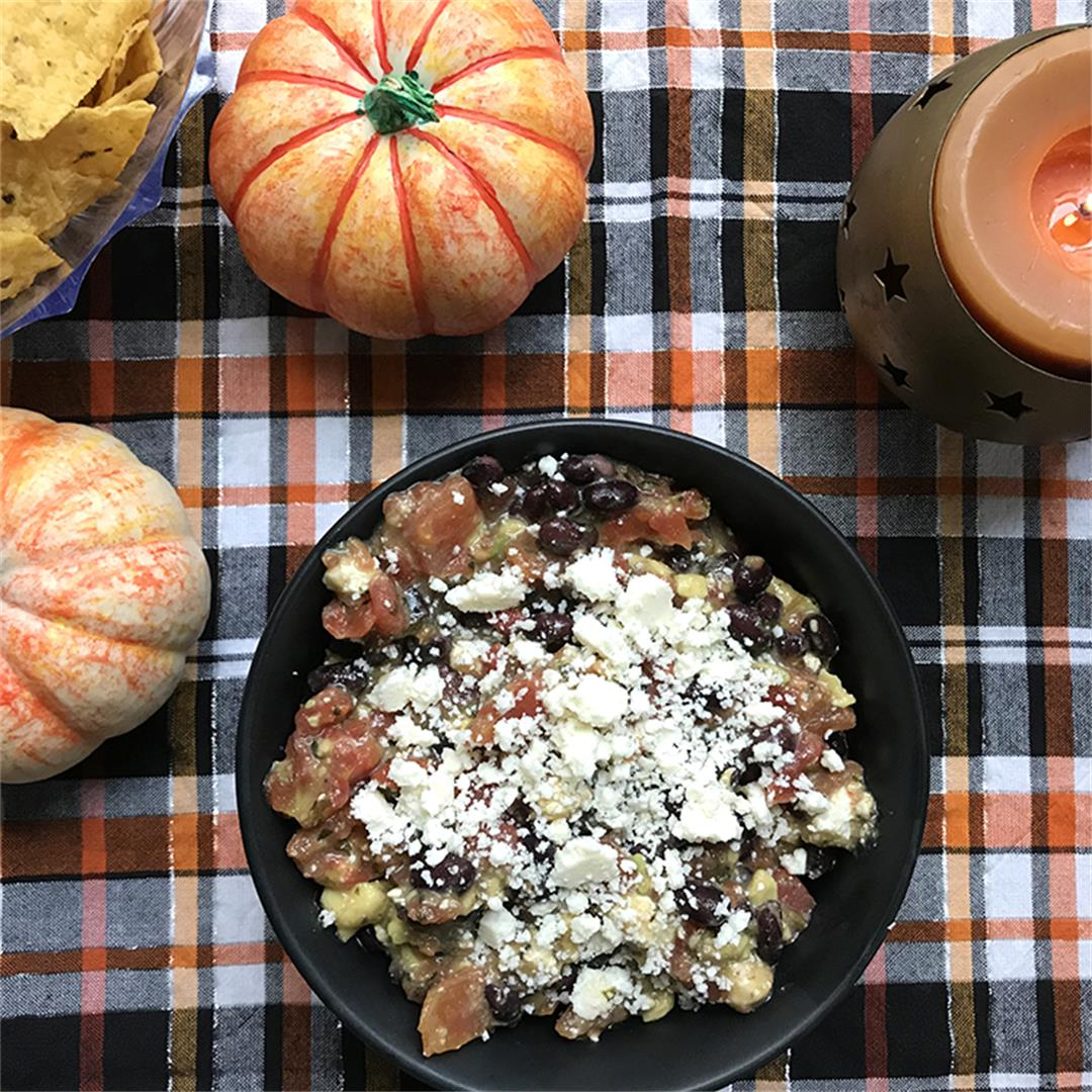 Black Bean, Tomato, Avocado and Cotija Cheese Dip