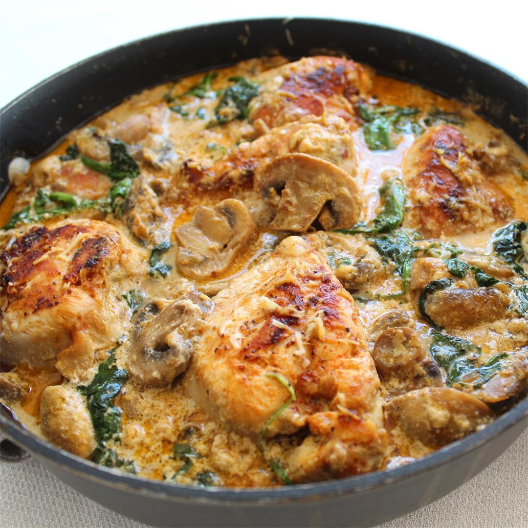 Creamy Spinach and Mushrooms Chicken