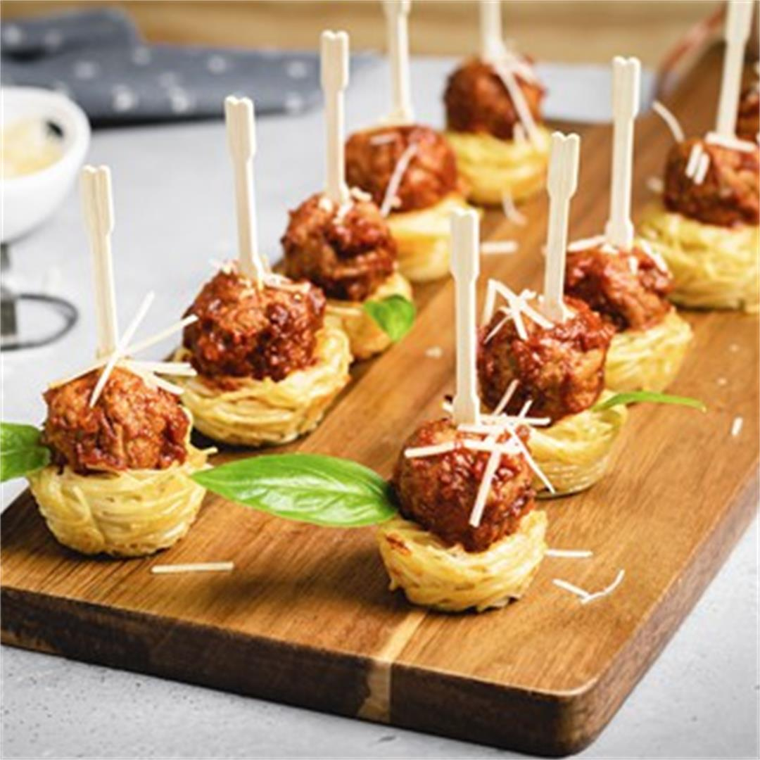 Mini Spaghetti Nests and Italian Meatballs Appetizer