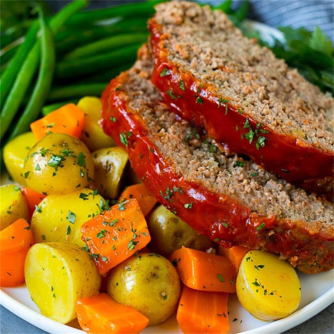 Crockpot Meatloaf with Vegetables