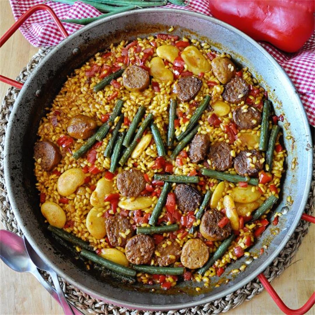 Spanish Sunday Rice with Beyond Sausage & Vegetables