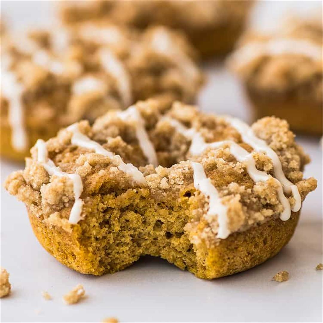 Baked Pumpkin Donuts with Streusel Topping