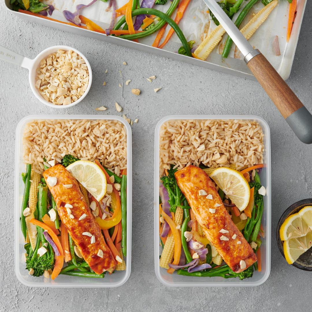 Meal Prep Sweet and Spicy Salmon with Veggies