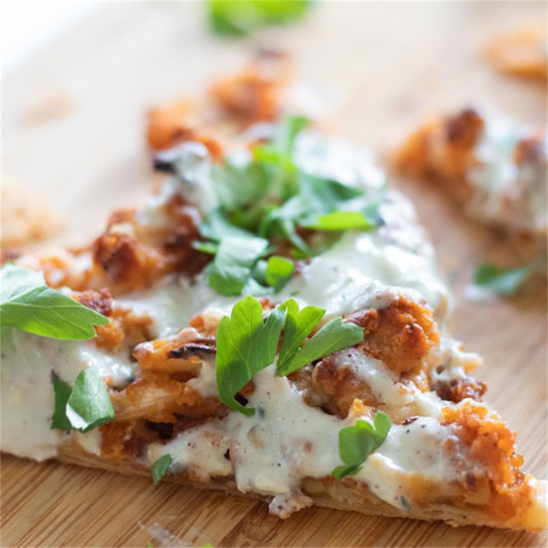 Vegetarian Buffalo Cauliflower Puff Pastry Pizza Bites with Blu